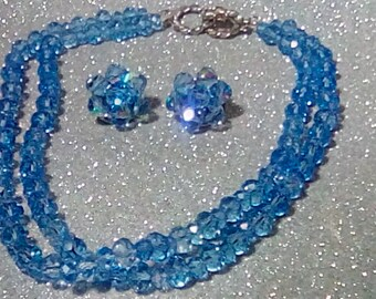 Alice Caviness Marked 2 Strand Blue Crystal Beaded Necklace & Clip On Earring Set