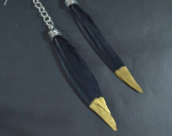 Long Feather Silver Earrings. Gold Tipped Black Feather Earrings. Black Feather Earrings. Silver Feather Earrings. Black Feather Earrings.