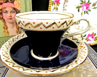 Aynsley Tea Cup and Saucer Cobalt Blue Corset & Red Raised Dots Teacup