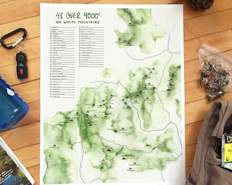 48 over 4000' - White Mountains Map Poster