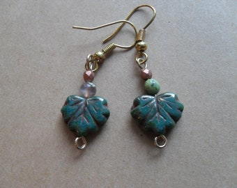 Oak: Hanging leaf earrings with beaded accents