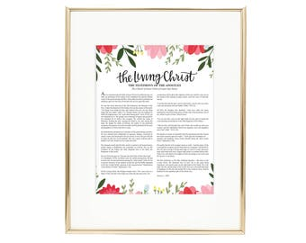The Living Christ in Floral - LDS Quote AZ949