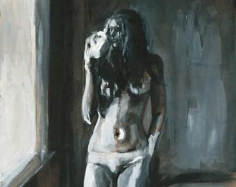 Nude Figure Painting Art Print, Nude Wall Art, thepaintedgrove