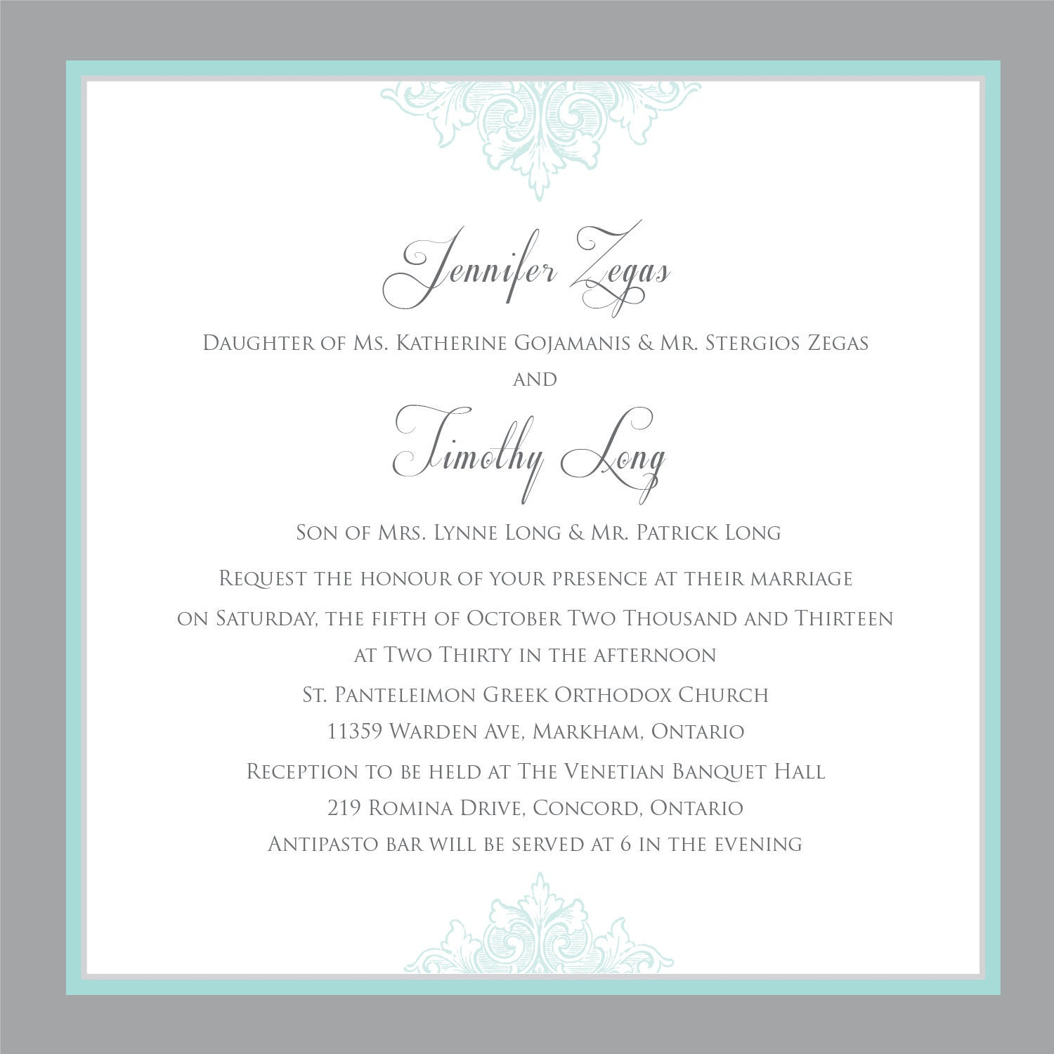 Printable Wedding Invitation - Wedding invitation template- Teal ...