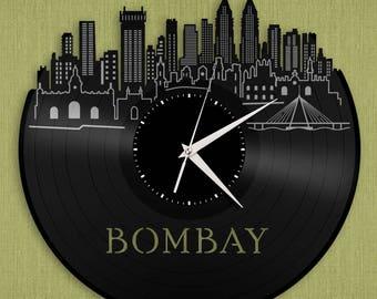 Bombay Skyline, India Travel Gift Idea, Indian Cityscape Decoration, Skyline Art, Bedroom Clock, Living Room Wall Clock, Kitchen Vinyl Clock