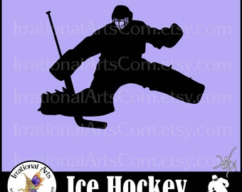 Hockey Goalie Silhouettes INSTaNT DOWNLOaD 1 PNG EPS SVG graphic clipart graphics