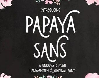 Digital Font Download- Papaya Sans- Handwritten Font- Open Type otf- Commercial Use Font- Instant Download
