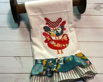 free shipping-Ready to Ship- Handmade Tea Towel-kitchen-stacked chickens -applique-embroidery- Mothers Day-farm life-kitchen decor