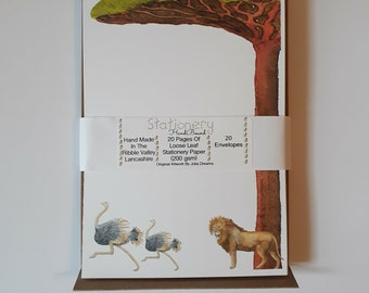 Lion and Ostrich Chase Stationery Writing Set Blank Thank You Note Paper Gift