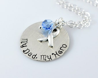 """My Dad My Hero Necklace - 1"""" Sterling Silver Stamped Necklace, Prostate Awareness"""