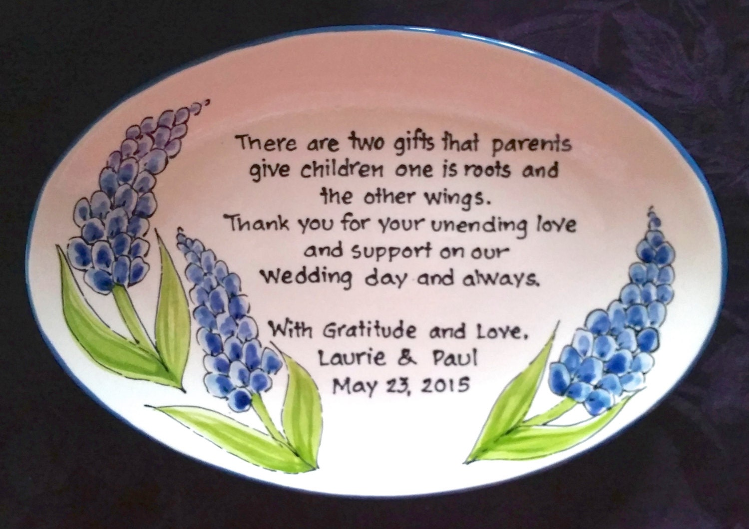 Parents Gift Wedding: Wedding Gift For Parents Plate Thank You Mom And Dad