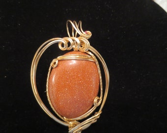 Gold Filled Gold Stone Wire Wrapped Pendant