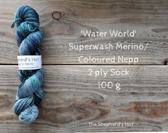 Superwash Merino/ Coloured Nepps 85/15   2 Ply Sock yarn 100 g 'Water World'