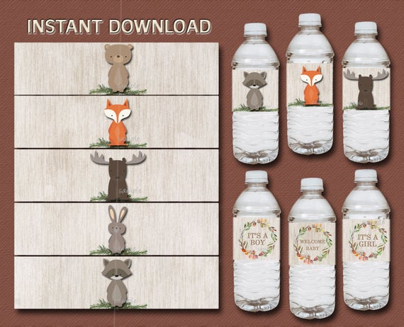 Woodland Animals Water Bottle Labels Printable Woodland