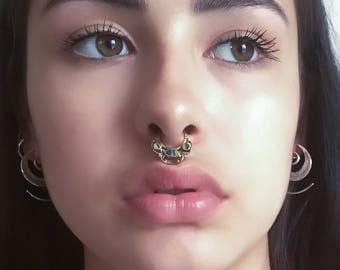 Brass Septum Ring - Septum Jewelry - Septum Piercing - 18G Septum Ring - Tribal Septum Ring - Indian Septum Ring - Septum Nose Ring (B38)