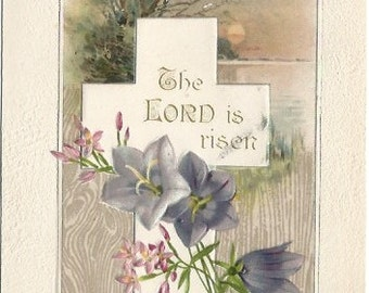 Sunset over Lake Scene Christian Cross Pink Phlox and Bluebells Springtime EASTER Greeting Vintage Postcard