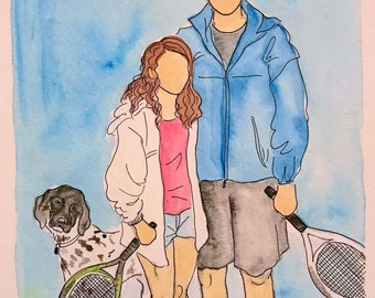 Couples: Custom watercolor and ink portraits