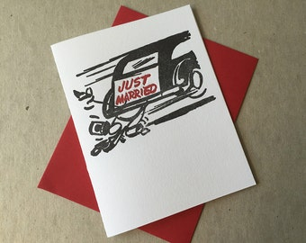 "Letterpress ""Just married"" card (#MIS031)"