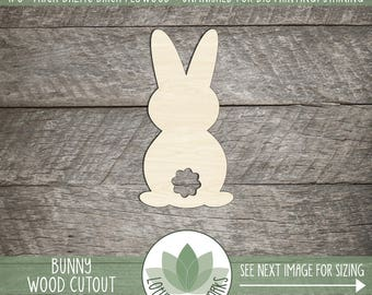 Easter Bunny Wood Cutout, Wooden Bunny Laser Cut Shape, DIY Easter Craft Supplies, Easter Decor, Wreath Making Shapes, Blank Wood Shapes