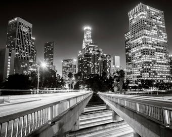 Downtown Los Angeles Night Black and White Photography Print Cityscape California Fine Art Wall Art Decor |Also Available on Canvas or Metal