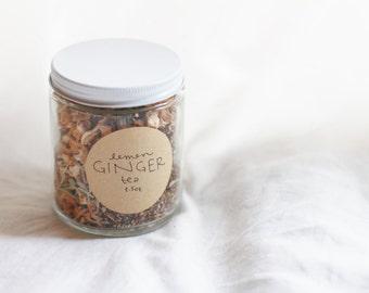ginger lemon herbal loose leaf tea // immunity boost / anti anxiety / zero waste / reusable tea bag / loose leaf tea set / preventative care