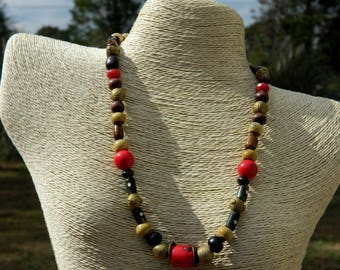 Coral and Horn Bead Tribal Necklace