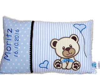 Personalisiertes Kissen zur Geburt oder Taufe, mit Motiv Bär,Teddy, in blau, aus Baumwollstoff, ein tolles Kuschelkissen, für Kinder.