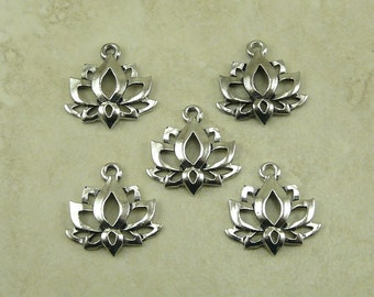 5 Lotus Flower Large Pendant Charms > Zen Peace Tranquil Yoga Buddhist Pond Raw American Made Lead Free Pewter Silver I ship internationally