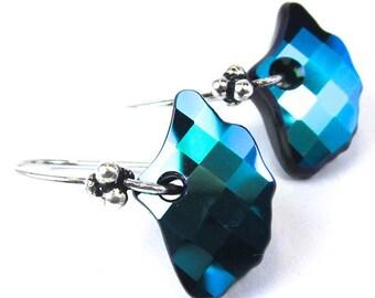 Swarovski Crystal Earrings Jet Glacier Blue Gingko Leaf Earrings, Sparkly Statement Earrings, Free US Shipping