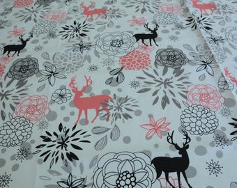 Cotton 100% coral and black deer by the yard hamada / Court, child, cotton fabric fabric, Fat Quarter.