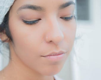 Set of 3 Nose Ring Hoops, Sterling Silver, Rose Gold and Yellow Gold Variety Set, Colored Nose Cuffs, Thin and Dainty Endless Nose Hoops
