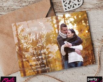 Rustic Save The Date, Vintage Save The Date, Photo Save The Date, Printable Save The Date, Postcard Invitation, STD78