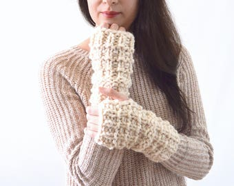 Crochet Chunky Fingerless Arm Warmers Gloves Mittens | The Lenolas