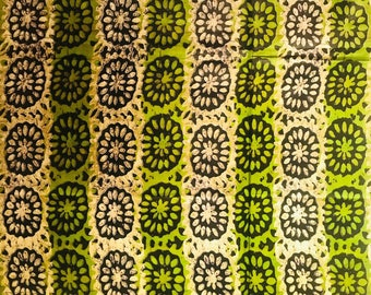 African print fabric, Green floral Batik, African Wax Print, Tribal print, African Ankara, African Material, sold by the yard