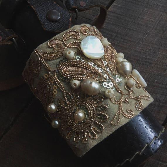 Boho textile cuff, fabric cuff bracelet, salvage textile cuff, textile wrist cuff,  embroidered cuff, sari border, boho bride, gypsy boho