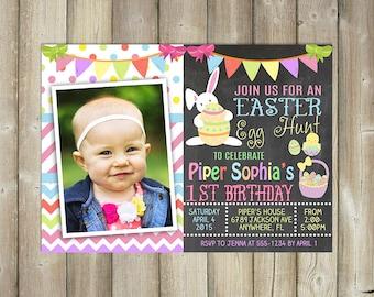 EASTER EGG HUNT Birthday Invitation - Easter Birthday Invite - Digital File - Print Yourself