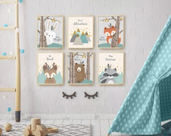 Woodland Nursery, Boy Nursery, Baby Boy, Nursery Decor, Nursery Picture Set,