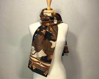 equestrian rayon scarf Evan Picone long shawl designer scarf horse saddle ridding motofe scarf