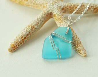 Light blue sea glass pendant wire wrapped sea glass necklace wire wrapped seaglass jewelry sea glass jewelry unique jewelry gift for mom