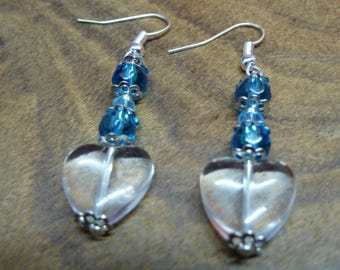 Clear Glass Heart Shaped Dangle Earrings Czech Glass Bead Drop Earrings With Blue Faceted Beads, Gifts for her, Earring Jewellery