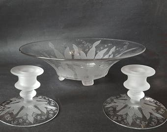 Rare Cambridge Glass Lily of the Valley Etch Console Set - Bowl and Candle Holders