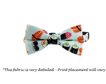 Sushi Collar - Cat or Kitten Breakaway Safety Collar- Bow Tie Cat Collar- Removable Bowtie