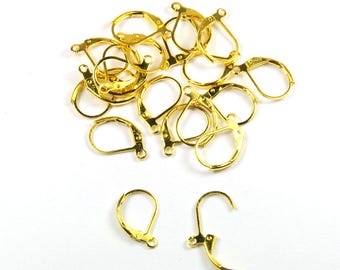 Lot 10 pairs of stud earrings 15 mm gold