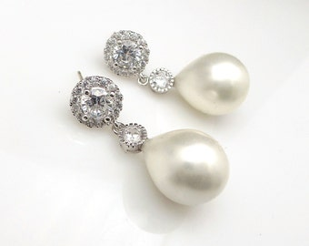 bridal wedding jewelry bridesmaid party gift christmas prom off white teardrop shell pearl on cubic zirconia halo rhodium round earring post
