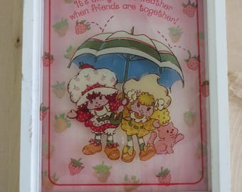 Vintage Strawberry Shortcake glass art by Lu Lu's - 'It's always nice weather when friends are together'