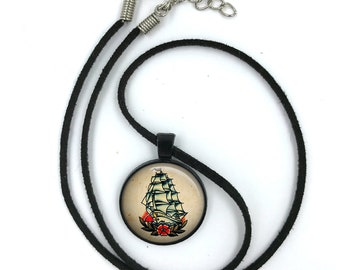 Sailor Jerry Necklace, Nautical Pendant,Rockabilly Necklace, Sailor Jerry,Retro Pendant,Pinup Necklace, tattoo,gift for wife,gift for her 10