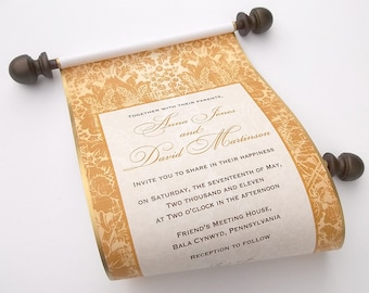 Medieval themed wedding invitation scrolls in copper and