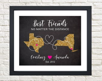 Best Friend Map, Long Distance Friendship Map, Friends moving away, Going to College, Housewarming Gift, Friend Moving Away, Distance