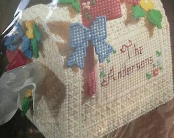 Vintage Bucilla Plastic Canvas Kit Flowered Mailbox Tissue Cover Complete Unopened NIP