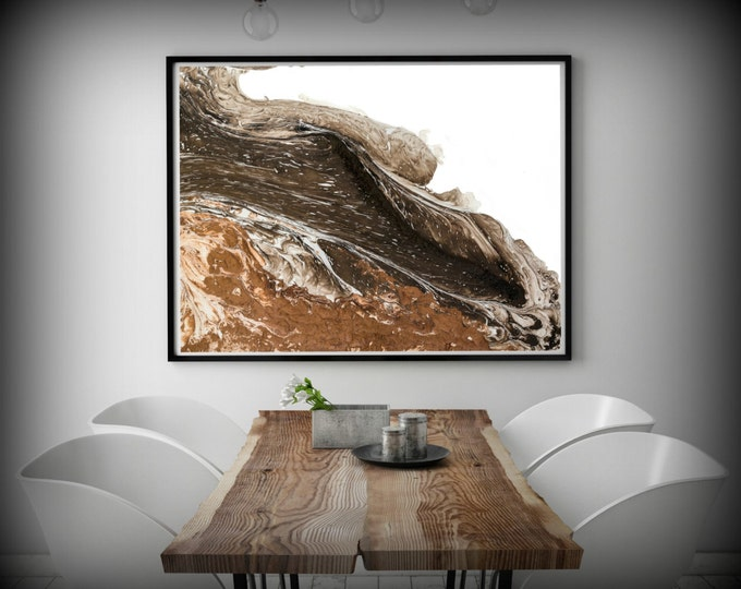Huge Painting Print, White and Brown Abstract Art Print, Large Painting Giclee, Large Bedroom, Living Room, Dining Room, Home or Office Art